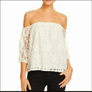 NWT Ella Moss Off White Off the Shoulder Lace Top